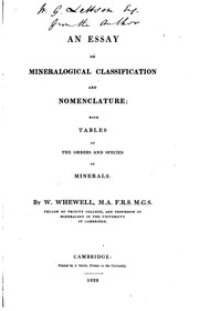 Cover of: An Essay on Mineralogical Classification and Nomenclature: With Tables of ..