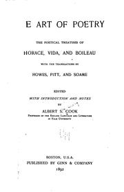 Cover of: The Art of Poetry: The Poetical Treatises of Horace Vida, and Boileau