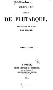 Cover of: Oeuvres morales de Plutarque