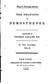 Cover of: The Orations of Demosthenes