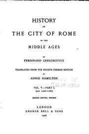 Cover of: History of the City of Rome in the Middle Ages: Der Wendepunkt der Renaissance