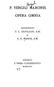 Cover of: P. Vergili Maronis opera omnia
