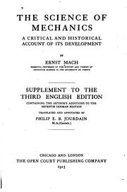 Cover of: The Science of Mechanics: A Critical and Historical Account of Its ...