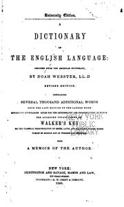 Cover of: A Dictionary of the English Language: Abridged from the American Dictionary