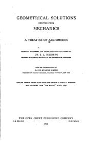 Cover of: Geometrical Solutions Derived from Mechanics: A Treatise of Archimedes ..