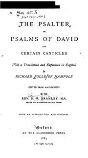 Cover of: The Psalter: Or Psalms of David and Certain Canticles