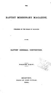 Cover of: The Baptist Missionary Magazine