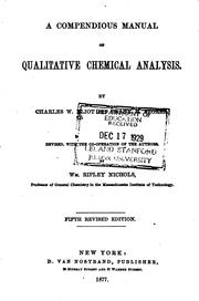 Cover of: A Compendious Manual of Qualitative Chemical Analysis