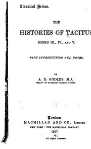 Cover of: The Histories of Tacitus, Books, III, IV, and V