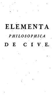 Cover of: Elementa philosophica de cive