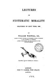 Cover of: Lectures on systematic morality