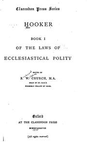 Cover of: Of the Laws of Ecclesiastical Polity: Book 1