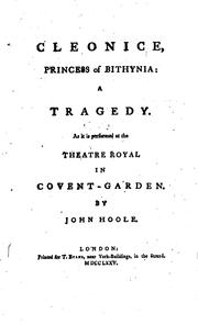 Cover of: Cleonice, Princess of Bithynia: A Tragedy. As it is Performed at the Theatre ...