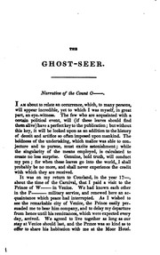 Cover of: Geisterseher: an interesting fragment, found among the papers of Count O*****.