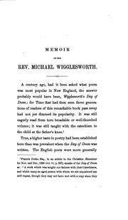 Cover of: Memoir of Rev. Michael Wigglesworth: Author of The Day of Doom