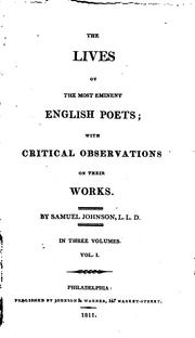 Cover of: The lives of the most eminent English poets, with critical observations on ..