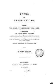 Cover of: Poems and translations; including the first four books of Ovid's Fasti; to which are added the ..