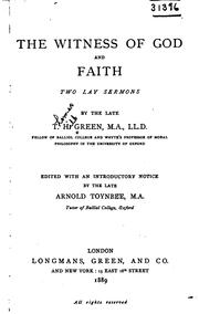 Cover of: The Witness of God, and Faith: Two Lay Sermons