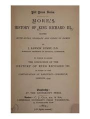 Cover of: History of King Richard III