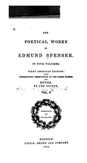 Cover of: The poetical works of Edmund Spenser