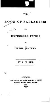 Cover of: The book of fallacies: from unfinished papers of Jeremy Bentham
