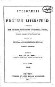 Cover of: Cyclopaedia of English Literature: A Selection of the Choicest Productions ...