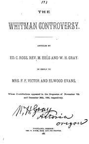 Cover of: The Whitman Controversy: Articles