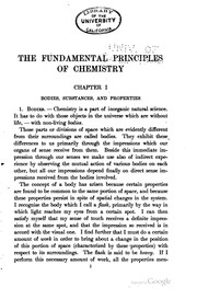 Cover of: The fundamental principles of chemistry: an introduction to all text-books ...