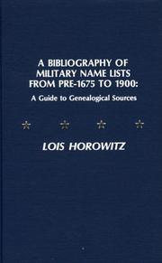 Cover of: A bibliography of military name lists from pre-1675 to 1900