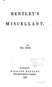 Cover of: Bentley's Miscellany