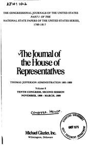 Cover of: Journal of the House of Representatives of the United States