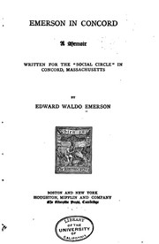 "Cover of: Emerson in Concord: A Memoir Written for the ""Social Circle"" in Concord ..."