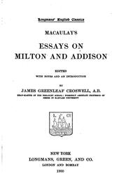 Cover of: Essays on Milton and Addison