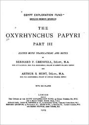 Cover of: The Oxyrhynchus Papyri