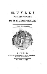 Cover of: Oeuvres philosophiques de M. F. Hemsterhuis ..