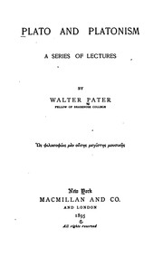 Cover of: Plato and Platonism: A Series of Lectures