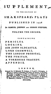 Cover of: Supplement to the Edition of Shakespeare's Plays Published in 1778