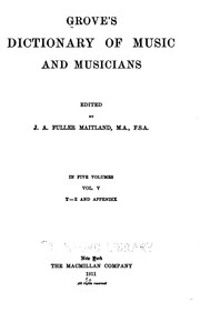 Cover of: Grove's Dictionary of Music and Musicians