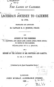 Cover of: The Lands of Cazembe: Lacerda's Journey to Cazembe in 1798