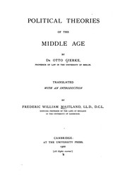 Cover of: Political Theories of the Middle Age