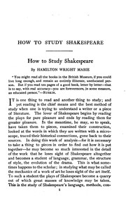 Cover of: How to Study Shakespeare: With Articles on General Literature and Directions for Forming and ...