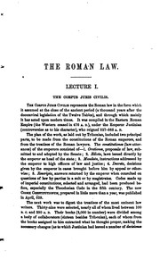 Cover of: Introduction to Roman Law: In Twelve Academical Lectures