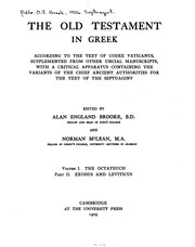 Cover of: The Old Testament in Greek, according to the text of Codex Vaticanus ...