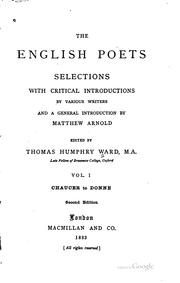 Cover of: The English Poets: Selections with Critical Introductions