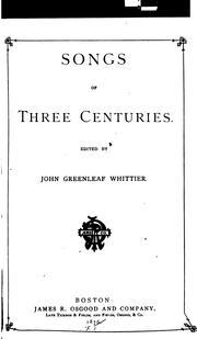 Cover of: Songs of Three Centuries