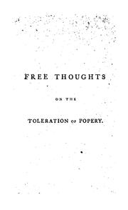 Cover of: Free thoughts on the toleration of popery, by Calvinus Minor