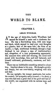 Cover of: The World to Blame: A Novel