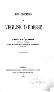 Cover of: Les origines de l'Eglise d'Edesse