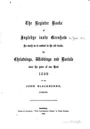 Cover of: The Register Booke of Inglebye Iuxta Grenhow as Much as is Exstant in the ...