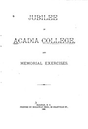 Cover of: Jubilee of Acadia College: And Memorial Exercises